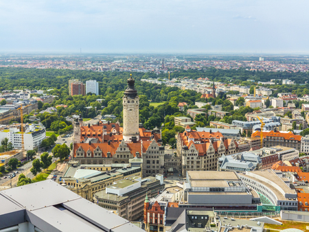 aerial view to city of Leipzig with historic tower