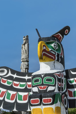 old traditional wooden totem masks in Canada