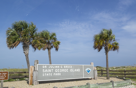APALACHICOLA, USA - JULY 23, 2013: entrance booth for state park saint george island in Apalachicola.