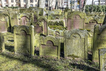 FRANKFURT, GERMANY - MAR 21, 2018: Tombstone on the Old Jewish Cemetery in Frankfurt at the so called Judengasse.