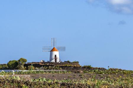 windmill in Lanzarote at Guatiza cactus garden