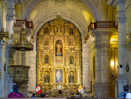 AREQUIPA, PERU - OCT 27, 2015: inside famous Yanahuara church  in Arequipa, Peru. The famous church was built in 1750 by the Spains. Editorial