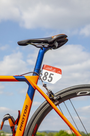 SCHWALBACH, GERMANY - MAY 1, 2018: detail of bicycle   at the famous race Frankfurt - Eschborn in Schwalbach with id . The race was former called around the Henninger tower and is an annual event since 25 Years.