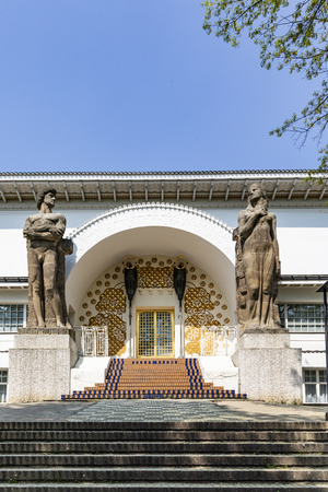 DARMSTADT, GERMANY - APR 21, 2018: entrance to the Ernst-Ludwig House at the mathildenhoehe in Darmstadt. Architect Joseph Maria Olbricht built the art nouveau house in 1900.