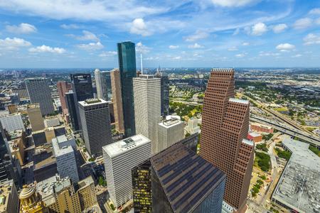 aerial of modern buildings in downtown Houston in daytime