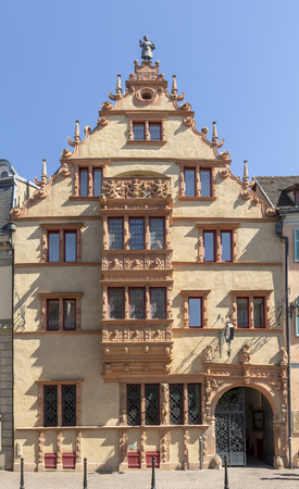 View of Maison des Tetes,the medieval house in the city of Colmar Editorial