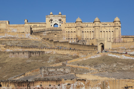 beautiful Amber Fort in Jaipur, India under blue sky