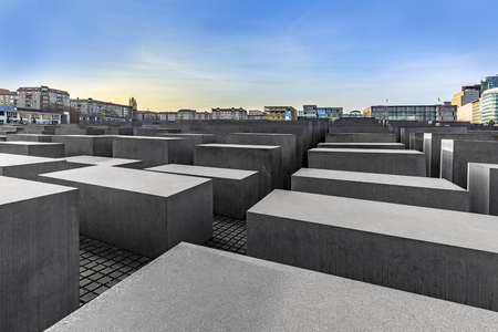 BERLIN, GERMANY - NOV 17, 2014: View of Jewish Holocaust Memorial in Berlin, Germany. Peter Eisenman createt the monument in 2006. Editorial