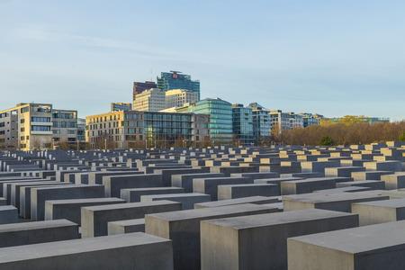 BERLIN, GERMANY - NOV 17, 2014: View of Jewish Holocaust Memorial in Berlin, Germany. Peter Eisenman createt the monument in 2006.