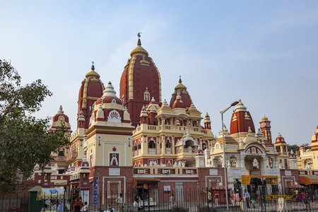 DELHI, INDIA - NOV 14, 2010: Shri Digambar Jain Lal Mandir Temple in Delhi under blue sky