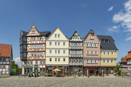 NEU ANSPACH, GERMANY - JUL 16, 2018: market place at Hessenpark in Neu Anspach. Since 1974, more than 100 endangered buildings have been re-erected at the Hessenpark Open-Air Museum. Editorial
