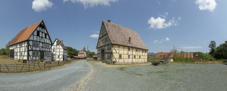 NEU ANSPACH, GERMANY - Jul 16, 2018: old timbered farmhouse at the Hessenpark, an Open-Air Museum founded in 1975. Editorial