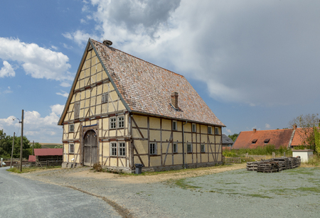 NEU ANSPACH, GERMANY - Jul 16, 2018: old timbered farmhouse at the Hessenpark Open-Air Museum. Editorial
