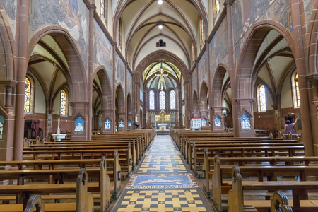 METTLACH, GERMANY - JUL 31, 2018: Church of Lutwinus in Mettlach. In 1722 the church was completely destroyed an rebuilt.