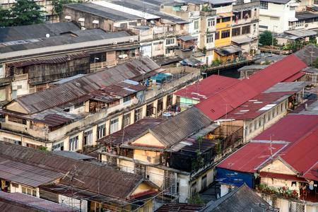 BANGKOK, THAILAND - DEC 2, 2006: aerial view to slum at river Chao Phraya.