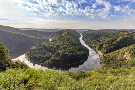 Unique landscape and landmark of the Saarland with a view to Saar river bend in Germany