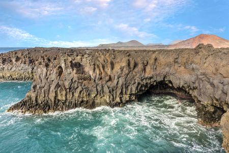 Los Hervideros, coastline with huge waves in Lanzarote Stock Photo