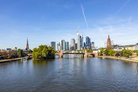skyline of Frankfurt am Main with river Main Stock Photo