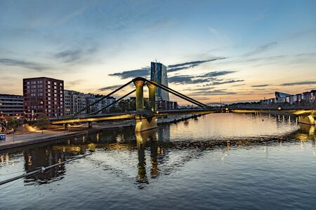 skyline of Frankfurt am Main with river Main in early morning Stock Photo