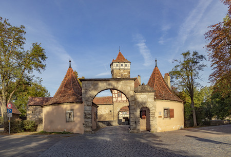 Roeder gate at the town wall gives entrance to Rothenburg ob der Tauber in Germany