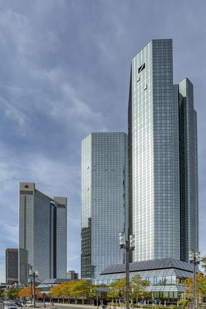 FRANKFURT, GERMANY - SEP 26, 2018: facade of headquarter of German Bank - Deutsche Bank - in Frankfurt am Main.