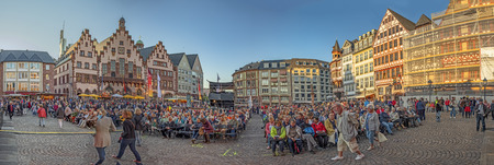 FRANKFURT, GERMANY - SEP 30, 2018:  people listen to the  free performance of cavalleria rusticana due to inauguration of the new old town in Frankfurt.