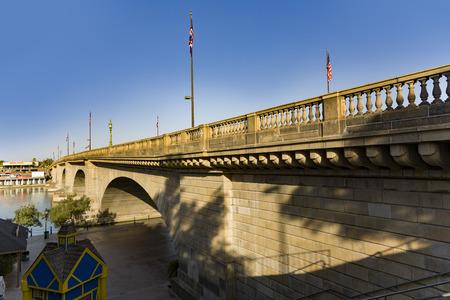 London Bridge in Lake Havasu, old historic bridge rebuilt with original stones in America Banco de Imagens
