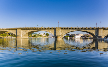 London Bridge in Lake Havasu, old historic bridge rebuilt with original stones in America Banco de Imagens