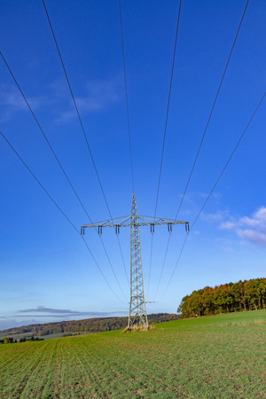 electric pylon under clear blue sky
