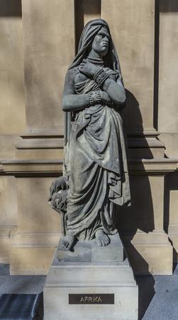FRANKFURT, GERMANY - MAR 29, 2014: statue at frankfurt stock exchange that symbolizes the african continent Redakční