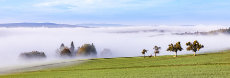 foggy sunrise in the scenic hilly landscape of the Taunus area in Hesse, Germany