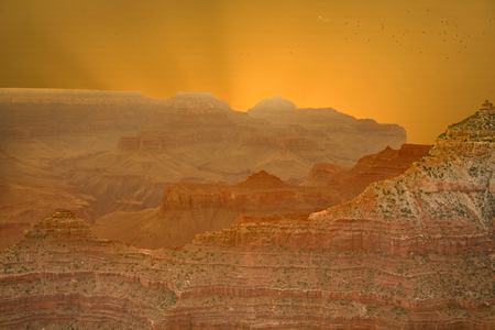 Sunset at the Grand Canyon seen from Desert View Point, South Rim Banco de Imagens