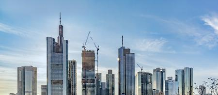 scenic skyline of Frankfurt with skyscraper