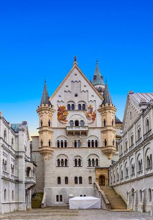 HOHENSCHWANGAU, GERMANY - JULY 31, 2009:  castle Neuschwanstein  in Hohenschwangau, Germany. 1,4 mio tourists visit the castle yearly.