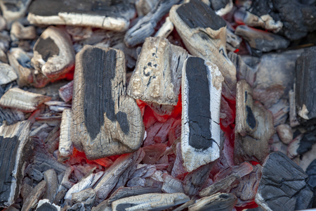 detail of glowing hot red charcoal fire