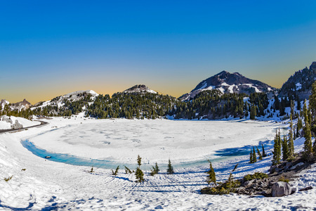 glacier lake at  Mount Lassen in the Mount lassen volcanic national park