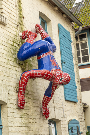 BAD CAMBERG, GERMANY - DEC 8, 2018: Spiderman at a shop for selling puppets in Bad Camberg, Hesse.