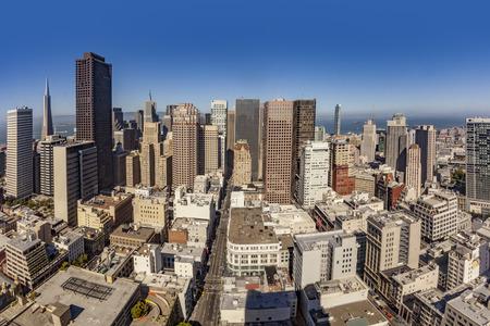 skyline of San Francisco in fisheye view