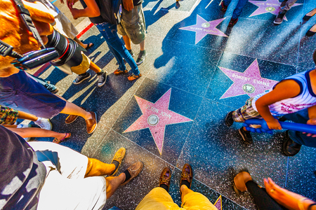 HOLLYWOOD, USA - JUNE 24, 2012: Elton Johns star on Hollywood Walk of Fame in Hollywood, California. This star is located on Hollywood Blvd. and is one of 2400 celebrity stars.
