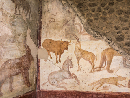 POMPEII, ITALY - AUG 2, 1998: Detail of mural painting in the interior of the ancient house in Pompeii, Italy.