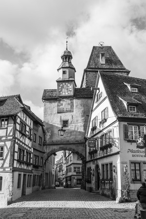 ROTHENBURG OB DER TAUBER, GERMANY - January 15, 2014: Rothenburg Ob Der Tauber is a well preserved medieval german town, and a UNESCO heritage site which attracts over 2 million visitors every year. Sajtókép