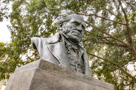 FRANKFURT, GERMANY - JAN 31, 2019: statue of philosopher Arthur Schopenhauer from artist Friedrich Schierholz from 1895 in Frankfurt.