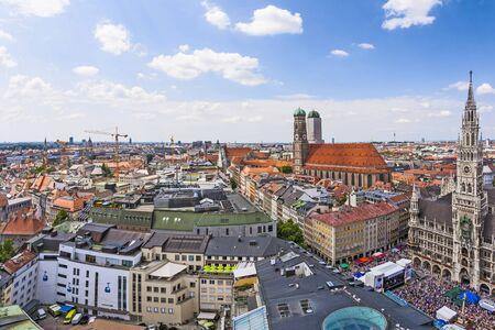 MUNICH, GERMANY - JUL 9, 2011: Aerial view to Marienplatz, New Town Hall and Frauenkirche in Munich, Germany.
