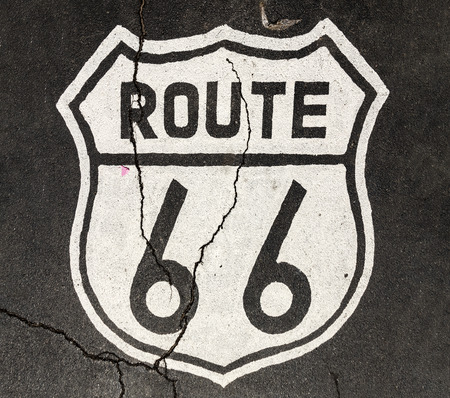 route 66 sign at the street in white