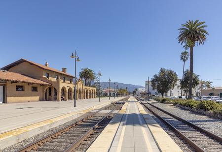 scenic Santa Barbara train station built in Mission style Editorial