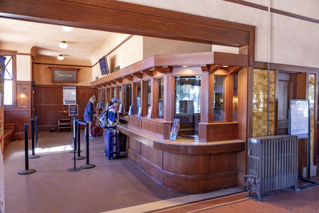 SANTA BARBARA, USA - MAR 16, 2019: inside the old historic train station at the wooden counter  which is still nowaday in use.