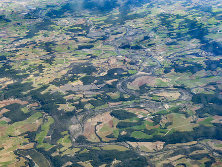 aerial of agricultural landscape near Barcelona, spain Фото со стока