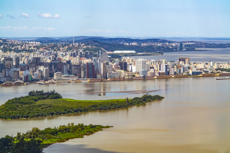 scenic aerial view of Porto Alegre in Brazil