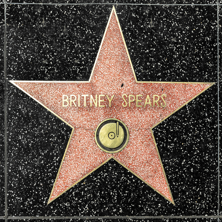 LOS ANGELES, USA - MAR 17, 2019: closeup of Star on the Hollywood Walk of Fame for Britney Spears.