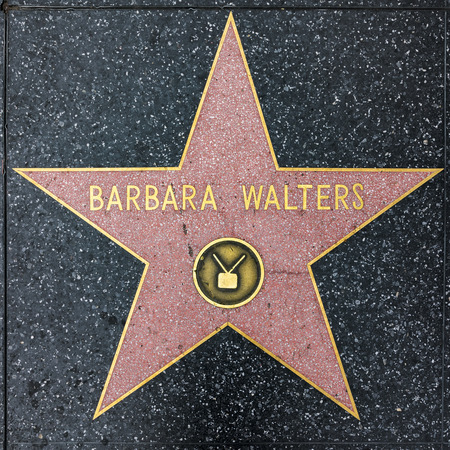LOS ANGELES, USA - MAR 5, 2019: closeup of Star on the Hollywood Walk of Fame for Barbara Walters Editorial